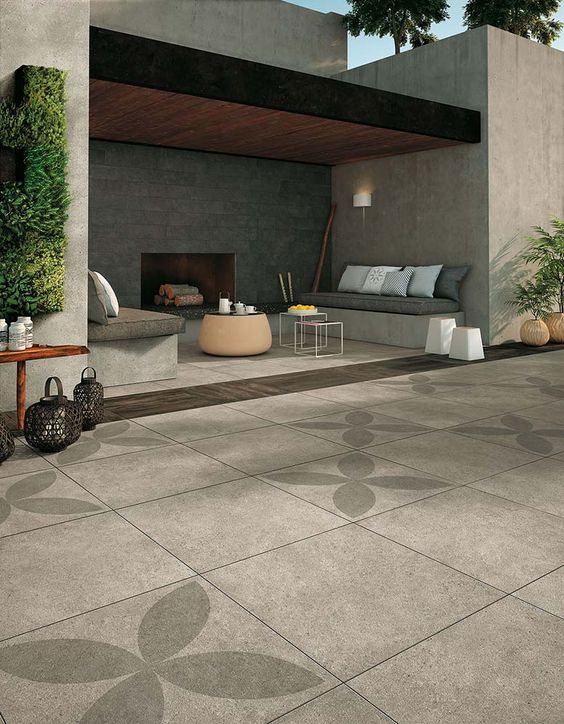 patio avec de grands carreaux en ciment modernes