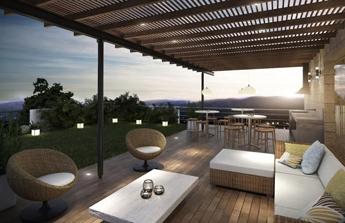 terrasse cocooning faite de bois et d'osier
