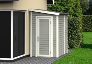 L'abri de jardin adossable en bois peint : petit format, petit prix et toit simple pente !