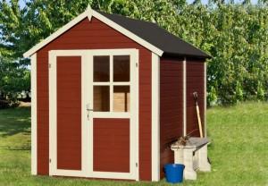 L'abri de jardin en bois naturel peint avec toit double pente, une solution de stockage grand format.
