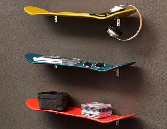 Des skates comme étagères pour votre mur.