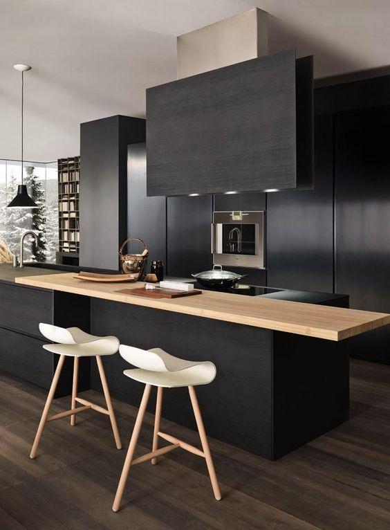 une cuisine noire pour un design chic et contemporain