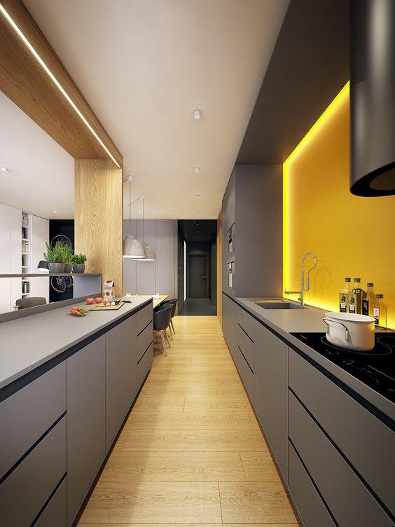 une cuisine avec crédence jaune à leds, au top du desgin !