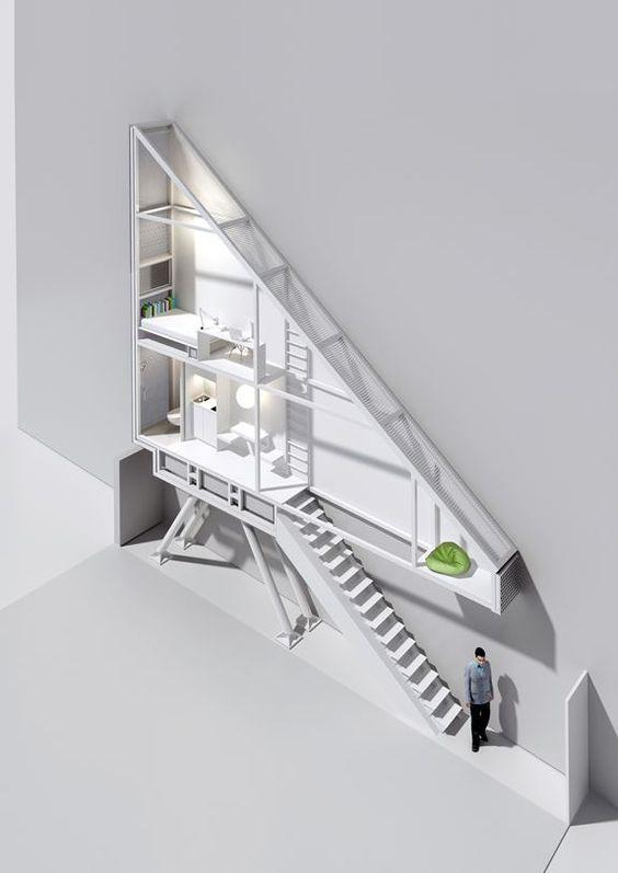 Reconstitution 3D de l'appartement le plus étroit du monde, la Keret House, à Varsovie