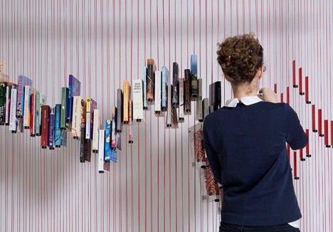 Des livres suspendus à un fil