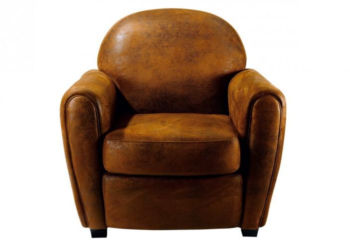 Un fauteuil club microfibre doux marron
