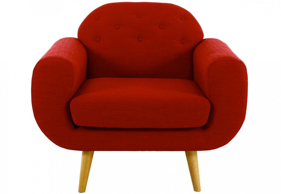 Un fauteuil rouge style vintage, de forme arrondie, aux pieds en bois.