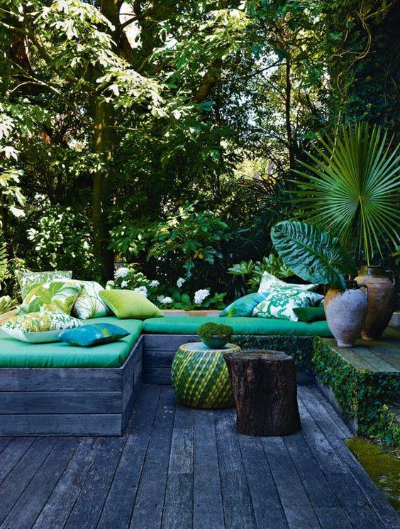 un jardin tout en verdure
