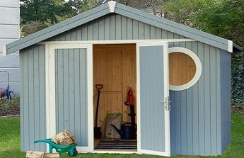 Abri de jardin bois peint pour stocker mobilier de jardin