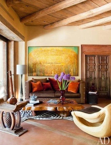 Une décoration tout en exotisme avec couleurs chaudes et brutes