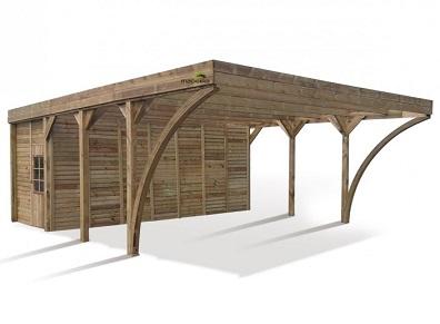 Un carport avec atelier et réserve intégrés pour la voiture