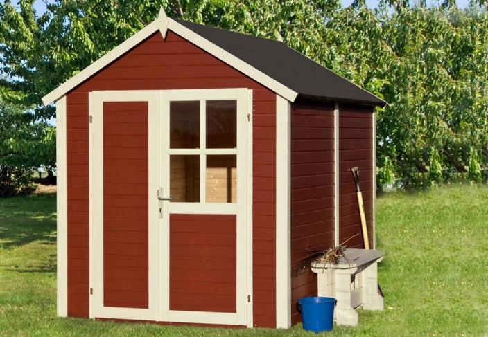 Petite cabane scandinave pour le jardin peinte en panneaux de bois naturel