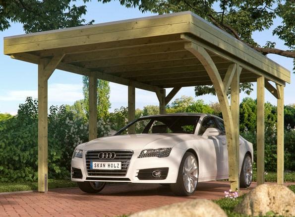 abri voiture bois avec poteau en arc