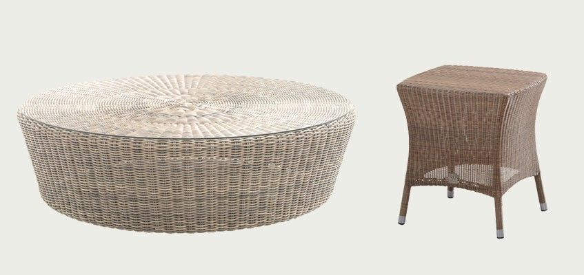 Tables basses d 39 ext rieur pour salon de jardin for Table rotin et verre