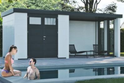 abri piscine métal