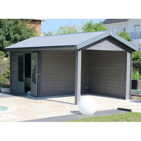 poolhouse en lames composite pour la piscine