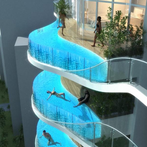 Piscine à tous les étages pour ce building d'un autre genre en Inde