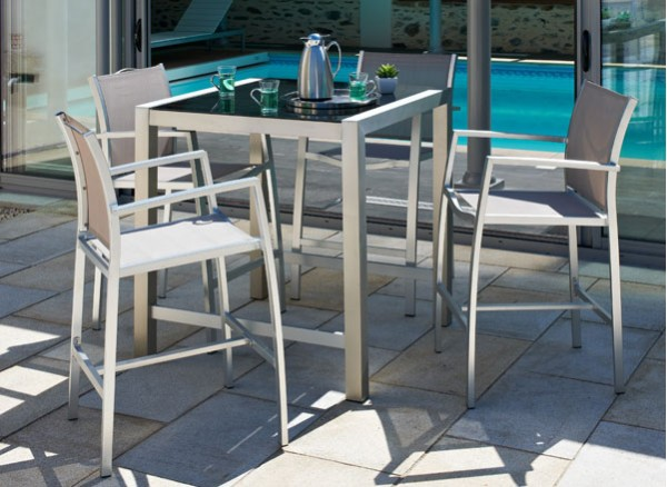 Salon de jardin avec table haute Salon de jardin bar lumineux versailles